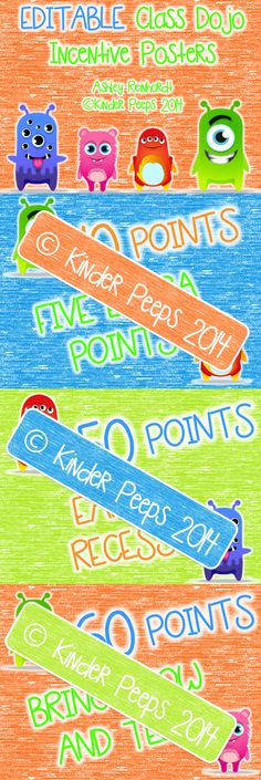 FUN Editable Class Dojo Reward and Incentive Posters by Kinder Peeps!