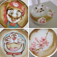 Japanese coffee artist Nowtoo Sugi uses colored bartender syrups to, as the hobby artist says, paint on coffee to create the amazing coffee art.