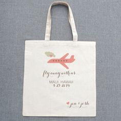 $10 fly away with us wedding tote