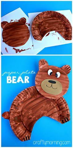 Paper Plate Bear Craft for Kids #Bear Art Project | CraftyMorning.com #kidscraft #preschool craft kids, art projects, paper plates
