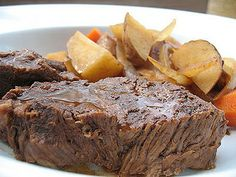 Super easy crock pot roast- Come home to a fabulous meal and mouth-watering aroma. ;)