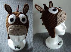 bullsey hat, crochet toys, toy stori, crocheted disney hats, crochet toy story, toy story crochet hat