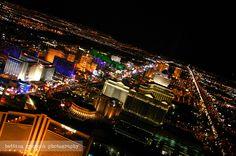 Bird's eye view of the strip at night, Las Vegas, Nevada, USA