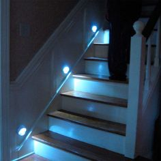 Staircase lights...  I wonder if you can get them in solar powered? They could charge all day, then glow all night. Another tip... Paint the edge of each step with glow in the dark paint. It is clear in the day time and gives a soft glow at night. Helps find the edge of steps at night. With the glowing lights, they should really stand out all night. I painted our steps going into the basement.