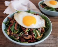 Warm Spinach Salad with Bacon Vinaigrette and a Fried Egg. A hearty ...