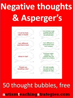 Children with Asperger's and other autism spectrum disorders can get quite a lot of upsetting thoughts. Here are 50 pre-written thought bubbles that are easy to download, print and use (teachers, SLP's, anyone, not just therapists).  Make a quick CBT, hands-on matching game or add a visual dimension to your work. adhd, autism spectrum, children, autism activities aspergers, thought bubbles, aspergers activities, counsel, aspi, kid