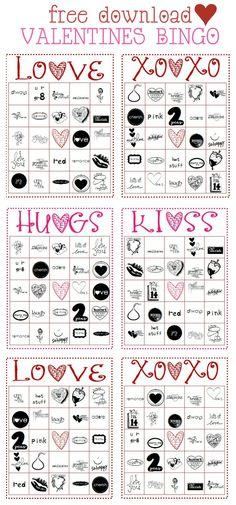 FREE Printable Valentine's BINGO game on { lilluna.com }