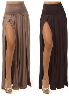 $23.99 High Waist Double Slit  Long Floor Length Maxi Full Skirt. I saw @Jess Pearl Pearl Pearl Pearl Pearl Liu NeSmith pin an outfit with this skirt earlier!!!