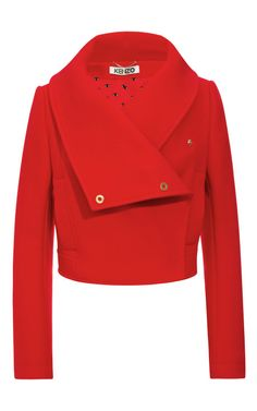 Shop Wool-Blend Cropped Jacket with Oversize Collar by Kenzo Now Available on Moda Operandi