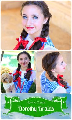 Dorothy Braids!  Love this simple hairstyle for this costume!  #cutegirlshairstyles #DIY #Halloween #wizardofoz #dorothy #hairstyles