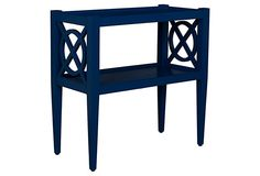 Alistair Side Table, Navy on OneKingsLane...side table like this might be better in breakfast nook - has somestorage!