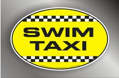 "Swim Taxi Decal - Oval 5"" x 3.25"" Printed Vinyl Sticker from www.PeaceLoveSwim.com"