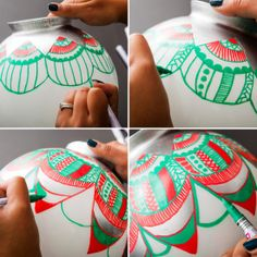 Transform a glass light cover into a giant ornament with paint pens!