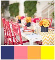 navy, pink, orange, yellow