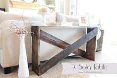 X Sofa Table Tutorial -perfect beginners project. Only takes 5 boards to create! Love that it is skinny to take up minimal space and would be perfect for drinks!