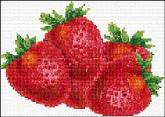 xstitch fruit, crossstitch, strawberri, cross stitches