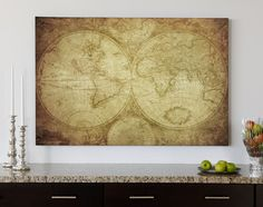 Decorating with Maps! //  Make this idea personalized by choosing a map of your favourite country, dream travel destination, or home town and have it printed on canvas. // http://www.canvaspop.com