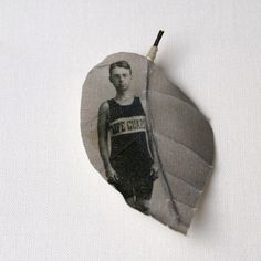 Chinese Alangium leaf printed with vintage photograph Life guard (a leaf on the family tree?)