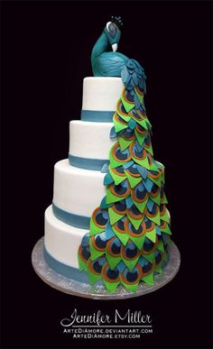 peacock feathers, idea, weddings, food, peacock wedding, wedding cakes, cake designs, amaz cake, peacock cake