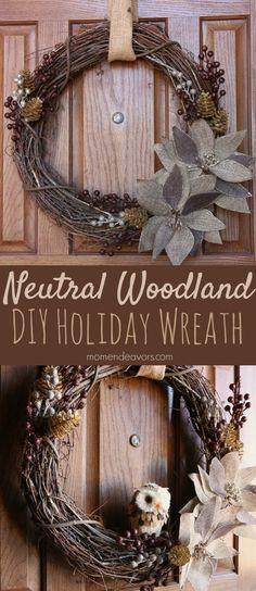 Beautiful DIY neutral woodland holiday wreath!