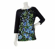 Susan Graver Printed Liquid Knit 3/4 Sleeve Top with Embellishments