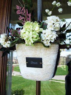 front door decor, front door wreaths, basket howto, switch plates, flower baskets