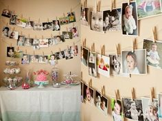 Awesome birthday party idea. Thinking this would be great for my grandparents 80th birthday party hanging pictures, 1st birthday photos, birthday parties, picture displays, first birthdays, hang pictures, 1st birthdays, parti idea, birthday ideas