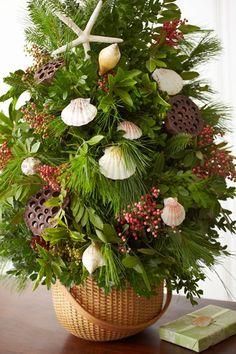 shell tree holiday, nautical christmas, shell, island style, beach houses, basket, christmas trees, nantucket style, coastal christmas