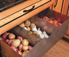 Vegetable Storage - You can select drawers for cabinets in your kitchen that are ventilated and use them to store fruits and vegetables.