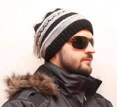 Knit Hat, Mens knit Hat, Winter Hat, Slouchy Beanie Hat, Winter accessories
