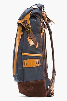 Master-piece Co Navy Leather-trimmed Potential Backpack for men | SSENSE