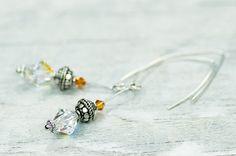Dangle Crystal Earrings OOAK Swarovski Earrings by DevikaBox, $29.00
