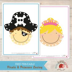 Free Pirate & Princess lacing cards by Busy Little Bugs