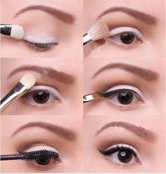 White and brown eye shadow, wonder liner, mascara