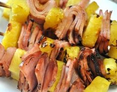 Grilled ham & pineapple kabobs-with brown sugar basting sauce