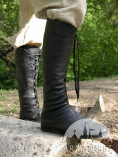 Natural  leather handmade high medieval  boots for sca and reenacment