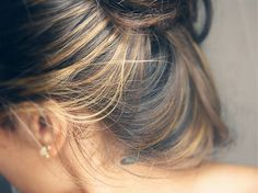 Blonde highlights in brunette hair