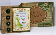 Great folding birthday card using an image from Crafty Secrets Vintage Button by Sharon for May Linky Party at Crafty Secrets.