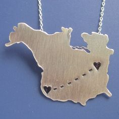 Personalized Long Distance North America Map Necklace