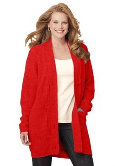 Woman Within Plus Size Cardigan In Shaker Knit