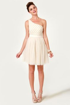 Only Pearls in the World One Shoulder Cream Dress - beautiful. I love white/ off white things !! #lulusholiday