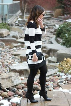 Black and White Bold Stripes with cute black booties and Chanel handbag
