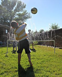 "Here's a fun take on volleyball suitable for hot summer days in the backyard. It's ""water volleyball,"" a fun outdoor game thought up by Michelle Hinckley of 4 Men 1 Lady. Click through for the tutorial for this PVC project (and two others) on The Home Depot Blog. 