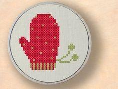 Red Mitten Cross Stitch
