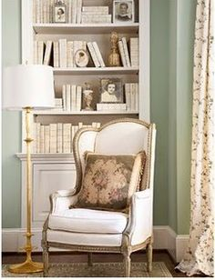 wall colors, curtains, chairs, heaven, reading nooks, hous, shades of green, cream, baseboards