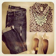 Leopard,mint,jeans,& nude.