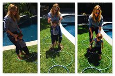 turn hula hoops into an obstacle course to entertain kids throughout the summer
