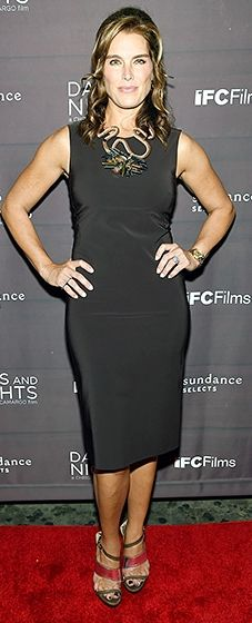 Brooke Shields looked timeless in a black form-fitting shift dress with a bold necklace. Strappy metallic sandals finished the look.
