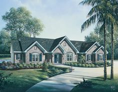 Spacious one level three bedroom home with two and a half bathrooms has an open floor plan.  House Plan # 321007.