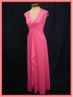70's Stephen Burrows Fuschia Pink Empire Jersey Dress/Gown  'Lettuce' edges on knits